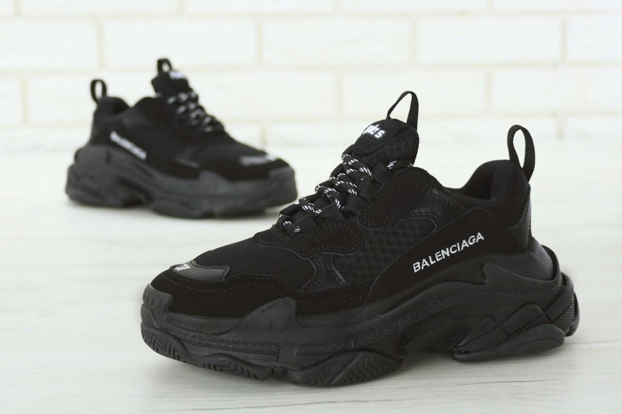 """Женские кроссовки Balenciaga Triple S """"Black"""". Кожа, текстиль"""