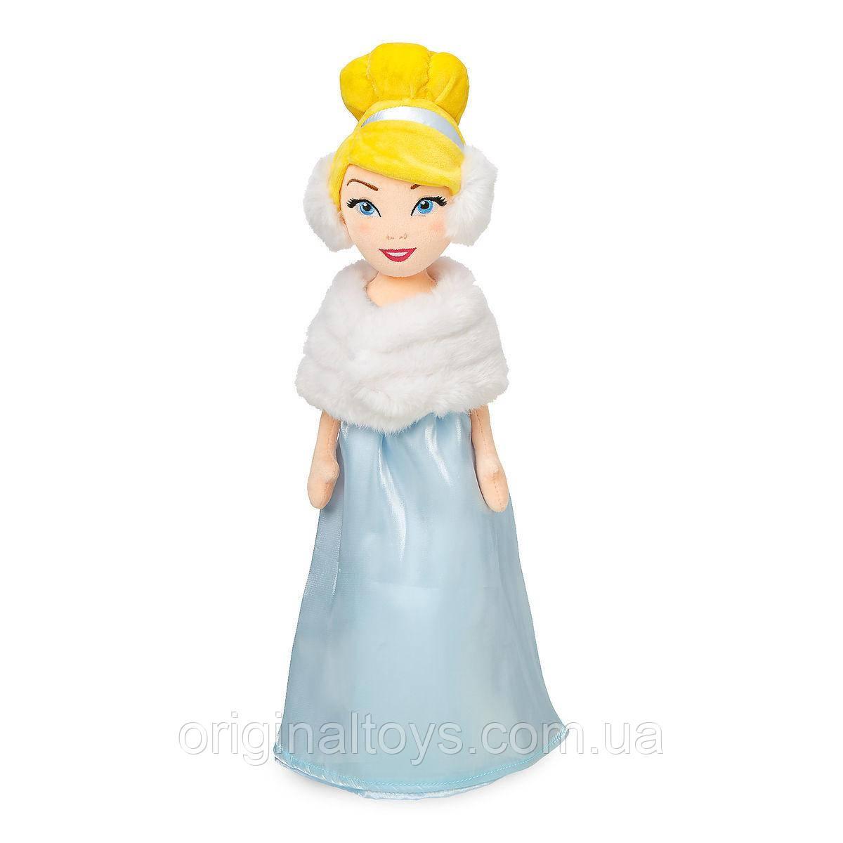 М'яка іграшка лялька Попелюшка в хутряній накидці Disney 48 см