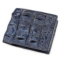 Портмоне CROCODILE LEATHER 18162 из натуральной кожи крокодила Синее, Синий