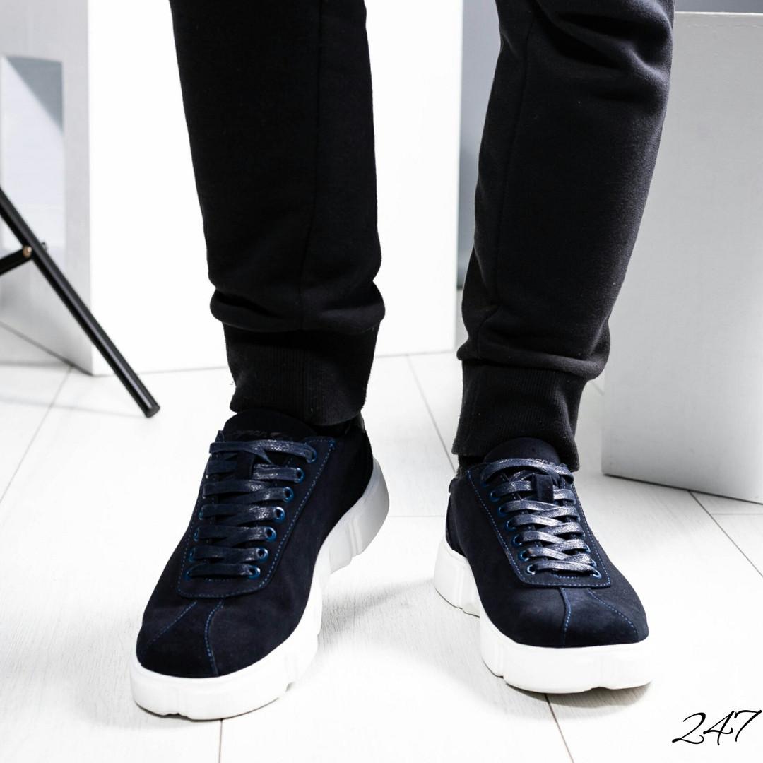e263a04a Мужские повседневные кроссовки синие на белой подошве,натуральная замша.