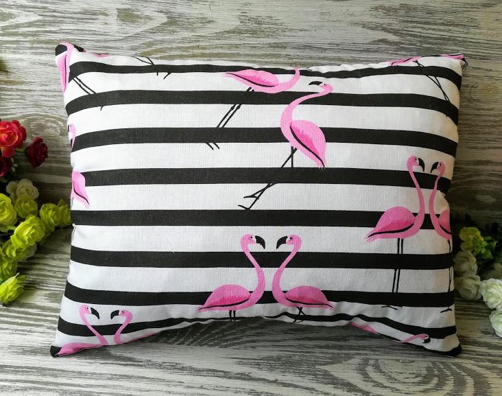 Подушка розовый фламинго на полосатом фоне , 37 см * 29 см