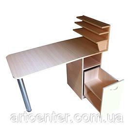 """Стол для маникюра складной с ящиком """"карго"""" и полочками для лаков"""