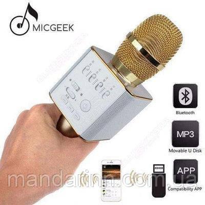Портативный микрофон-караоке Q9, Bluetooth, MS + чехол, золотой цвет
