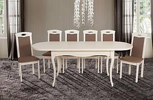 Кухонний білий комплект: стіл та 4 стільця -Олівер. Масив дерева.