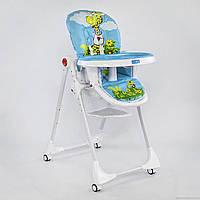 Детский стульчик для кормления на колесиках и регулируемой спинкой, ( Веселый жираф)