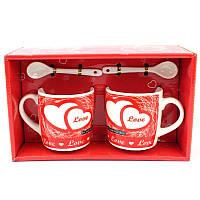 Подарочный набор из 2х чашек и ложек Love - 132016