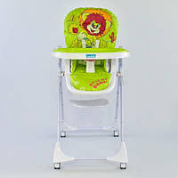 Детский стульчик для кормления на колесиках и регулируемой спинкой ( Львенок)