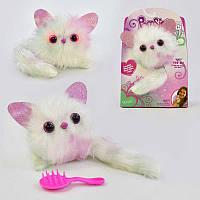 Детская мягкая интерактивная игрушка Белый Кот (котик) - браслет Кот, звук, свет,268-8