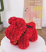 Оригинальный подарок для девушки - собачка из фоамирановых роз ручной работы красная