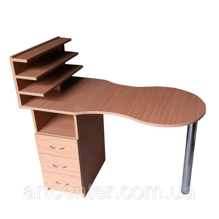 Маникюрный стол с ящиками и полочками для лаков, складной