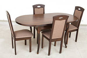 Кухонный комплект, темный: стол и 4 стула -Твист. Массив дерева.