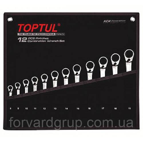 Набор ключей комб. с трещоткой реверсивных 8-19мм в сумке 12ед.  TOPTUL GPAQ1203