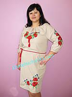 Женское вышитое платье Маки с васильками . Размеры 46 - 56