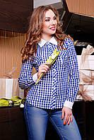 Женская рубашка в клетку с длинным рукавом