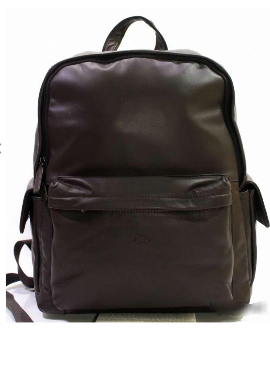 Кожаный коричневый мужской рюкзак