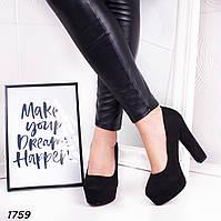 Женские черные туфли на высоком каблуке и платформе  р. 37, 40, фото 1