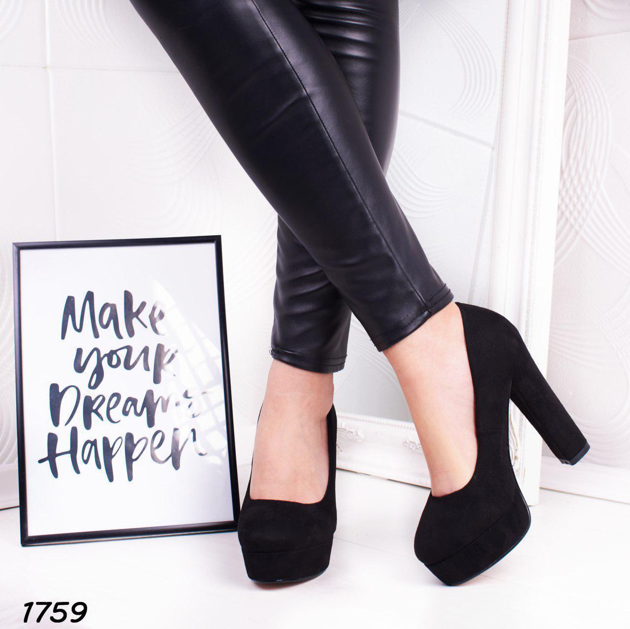 Женские черные туфли на высоком каблуке и платформе  р. 37, 40