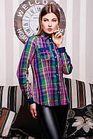 Женская рубашка в клетку крупную разноцветную.