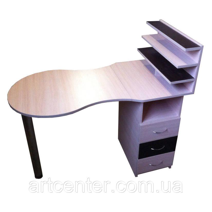 Маникюрный стол с полочками для лаков и выдвижными ящиками