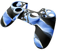 Силіконовий чохол NOMI Anti-slip до геймпаду PS4 Чорно-блакитний (442082)