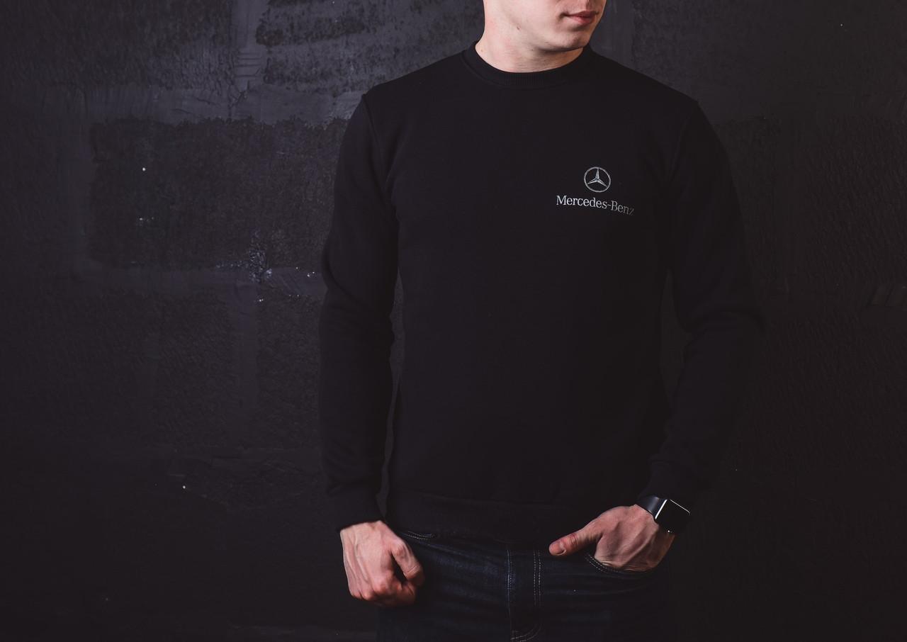 Мужской свитшот Mersedes на зиму стильный теплый (черный), ТОП-реплика