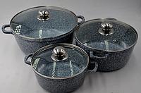 Набор посуды 6 предметов (Мраморное покрытие) - Benson (Германия) (2.1л , 4.2л 6,3л )