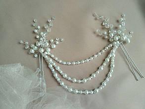 Украшения в прическу невесты белая заколка с подвеской