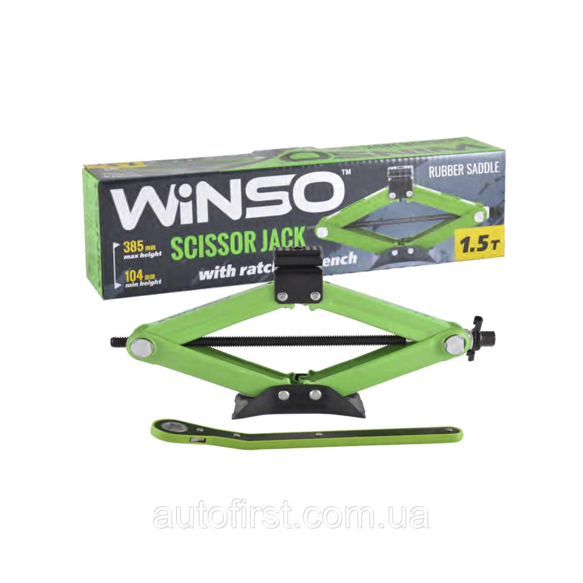 WINSO Домкрат ромбовий 1,5т.резин. подушка с трещеткой