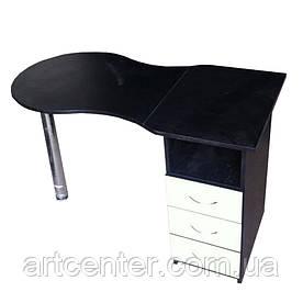 Стол для маникюра черный с белым складной, с выдвижными ящиками