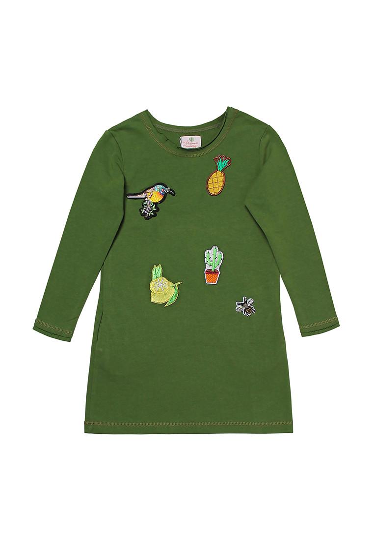 Платье для девочки с аппликацией, зеленое