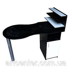 Стол для маникюра черный с белым складной, однотумбовый с полочкамии