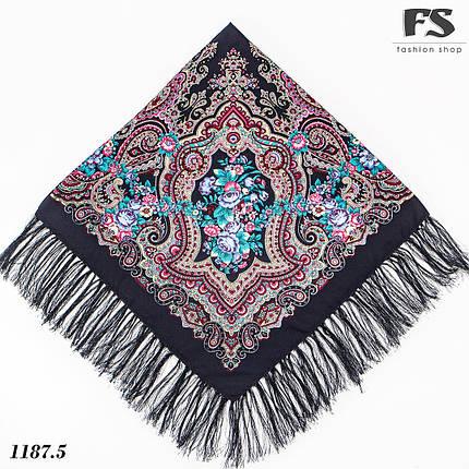 Синий павлопосадский шерстяной платок Елизавета, фото 2