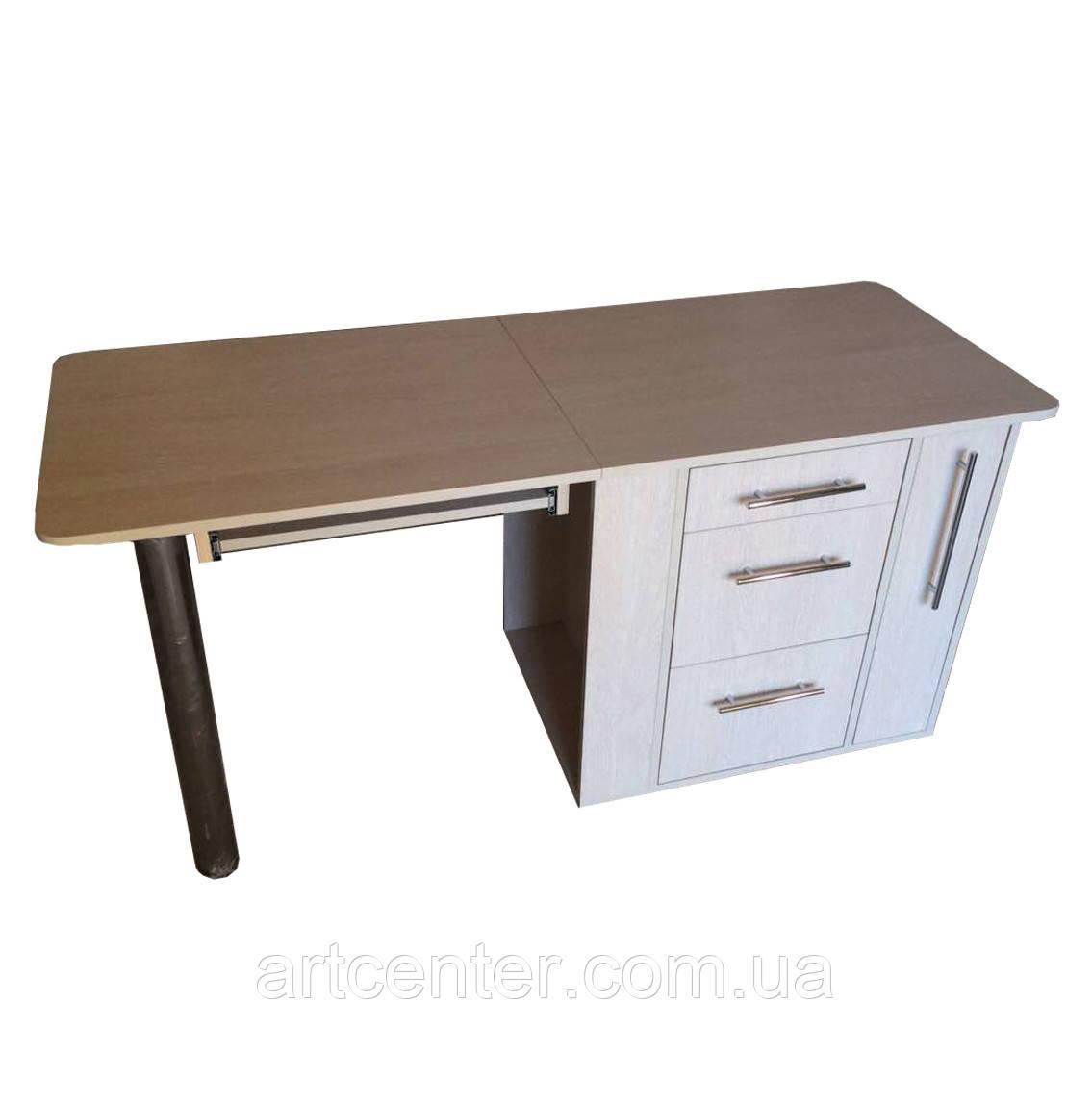 """Стол для маникюра с выдвижными ящиками и ящиком """"карго"""" белый со складной столешницей"""