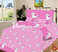 Полуторный комплект детского постельного белья с кошкой на розовом фоне