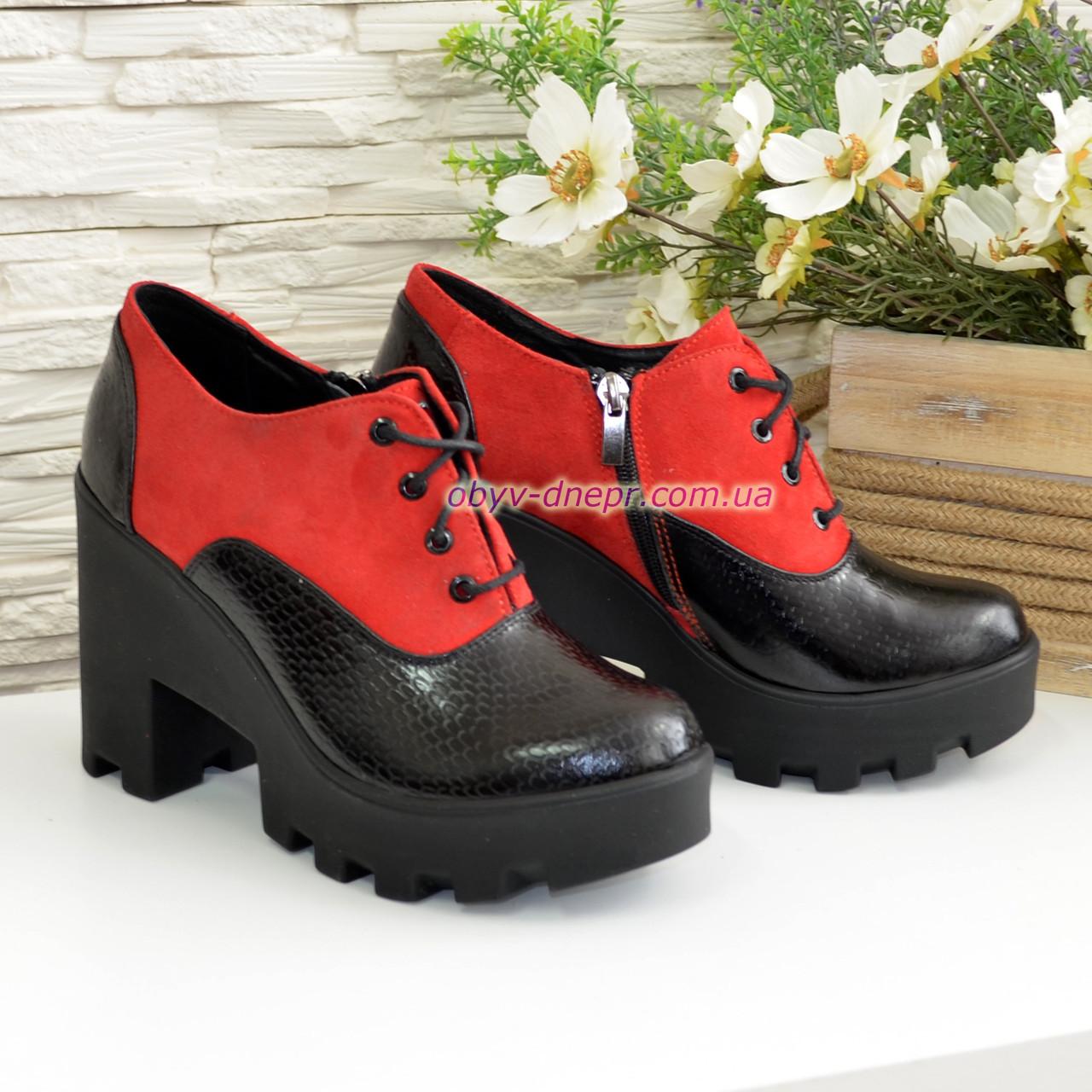 Туфли женские комбинированные на высоком каблуке