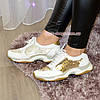 Стильные женские кожаные кроссовки на шнуровке, декорированы пайетками, фото 4