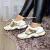 Стильные женские кожаные кроссовки на шнуровке, декорированы пайетками, фото 5
