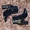 Ботинки зимние на высоком устойчивом каблуке, декорированы резинкой, цвет синий, фото 8