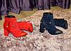 Ботинки зимние на высоком устойчивом каблуке, декорированы резинкой, цвет синий, фото 9