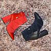 Ботинки зимние на высоком устойчивом каблуке, декорированы резинкой, цвет синий, фото 10