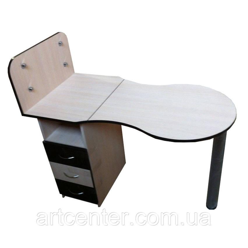 Маникюрный стол со стеклянными полочками и выдвижными ящиками для салона красоты