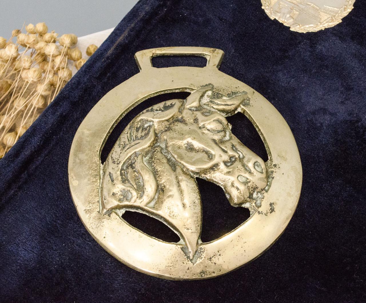 Латунная накладка для конской сбруи, винтаж, латунь, Англия, лошадь