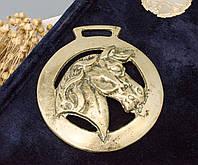 Латунная накладка для конской сбруи, винтаж, латунь, Англия, лошадь, фото 1