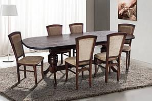 Кухонный комплект - Гетьман.Большой раздвижной стол и 4 деревянных, кухонных стульев.