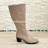 Сапоги женские кожаные на невысоком каблуке, цвет визон. Батал, фото 2