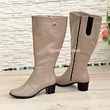Сапоги женские кожаные на невысоком каблуке, цвет визон. Батал, фото 4