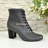 Черевики жіночі шкіряні туфлі на стійкому каблуці, колір сірий, фото 3