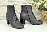 Черевики жіночі шкіряні туфлі на стійкому каблуці, колір сірий, фото 4