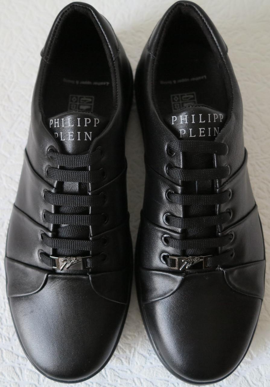 3ffbc711e9829 ... Philipp plein! Мужские туфли кроссовки из черной натуральной кожи в  стиле Филипп Плейн, фото