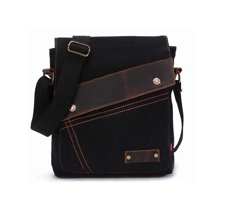 Брезентовая мужская сумка на плечо Augur Черный